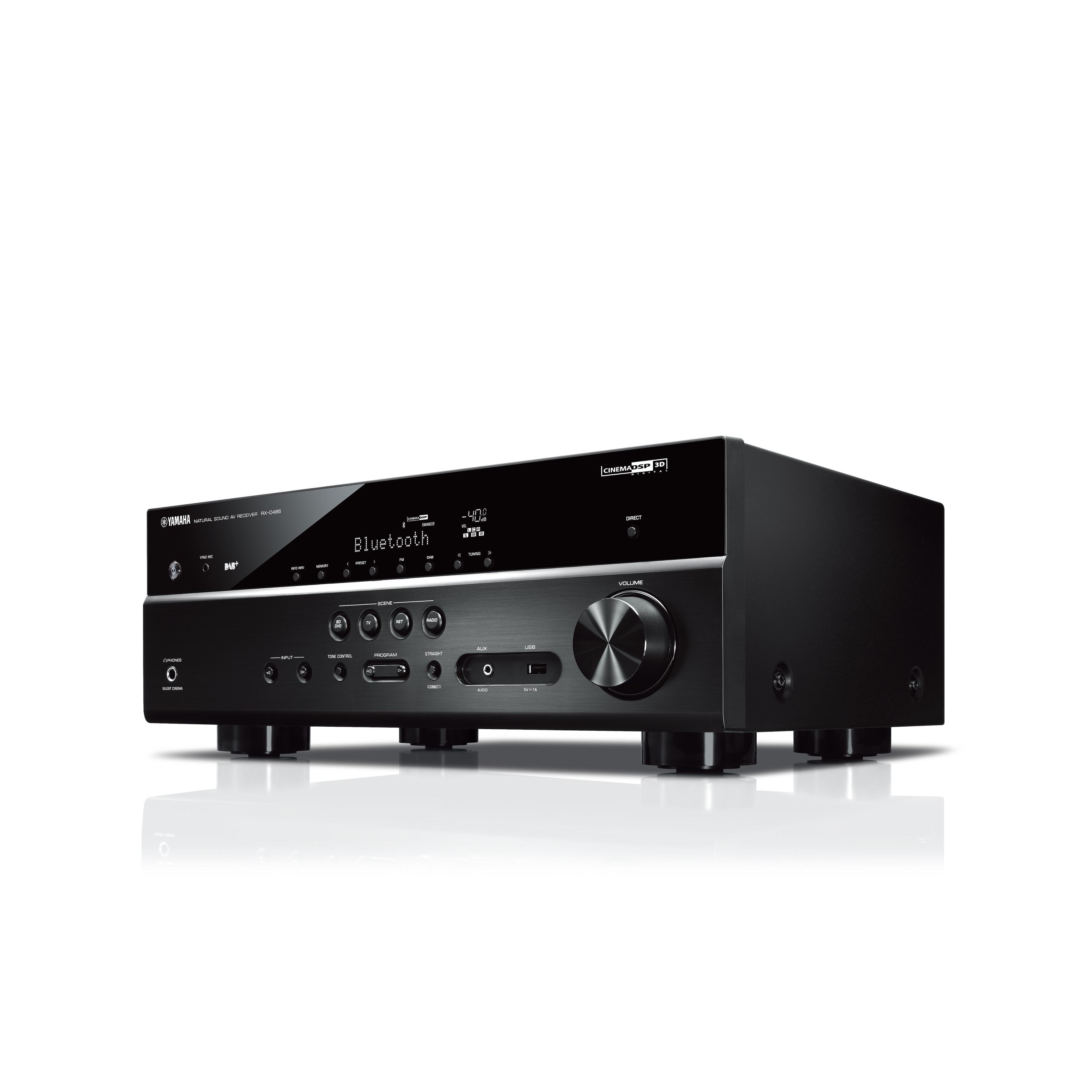 Bluetooth und DAB Tuner Schwarz Yamaha RX-D485 BLACK 5.1 MusicCast AV-Receiver mit Wi-Fi